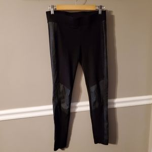 Cabi faux leather patch leggings